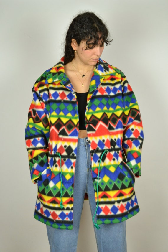 Southwestern Blanket Jacket Rainbow Concho Blazer Tribal Jacket Ethnic Print 1980s Vintage Aztec  Boho Hippie Earthtones Medium