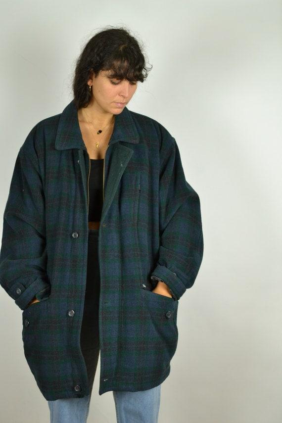Abstract Pattern Green Blue Men Zip Jacket Vintage