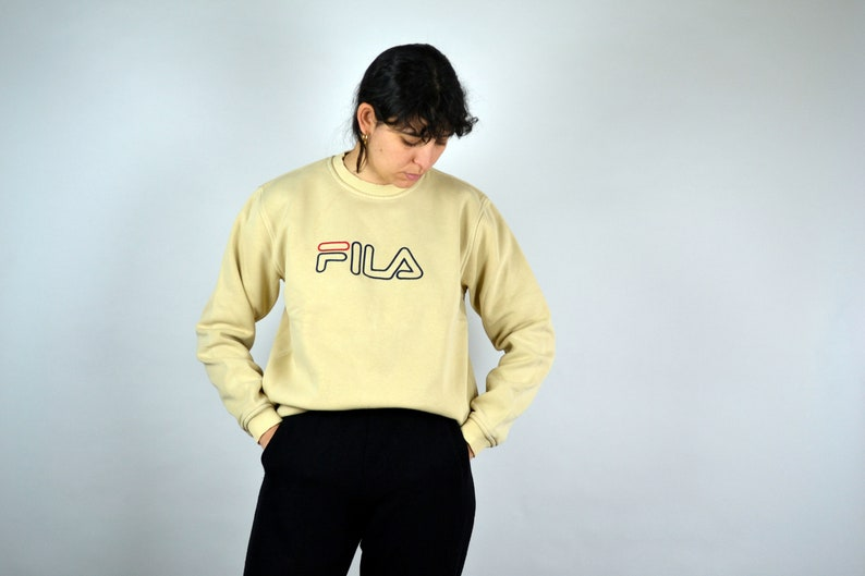 90s FILA Sweater Hip hop clothing Vintage Fila Sweatshirt Pull Sport Jumper Crewneck Outshirt Big Logo Spell Out Men Mens Women M