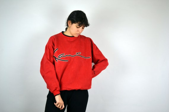 90s FILA Sweater Hip hop clothing Vintage Fila Sweatshirt Pull Sport Jumper Crewneck Outshirt Big Logo Spell Out Men Mens Women M
