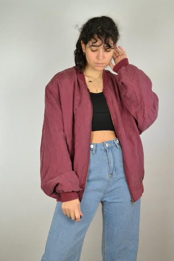 Vintage 80s - Red Silk Bomber Jacket - Size L/XL-… - image 2