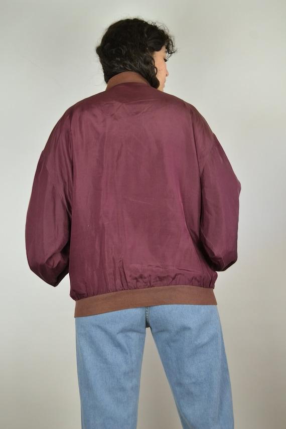 Vintage 80s - Shiny Red Pink Silk Bomber Jacket -… - image 7