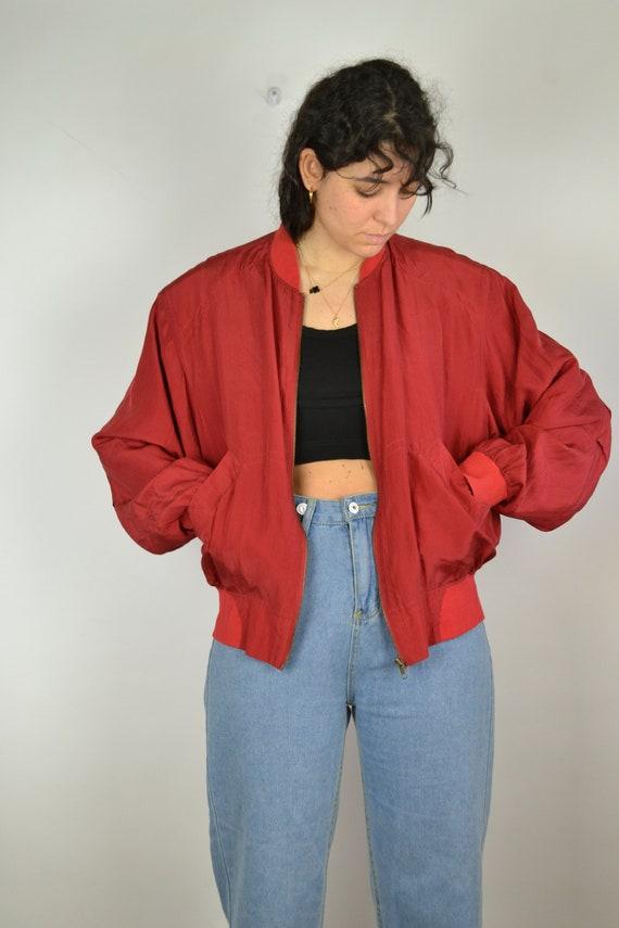 Vintage 80s - Red Silk Bomber Jacket - Size S/M -… - image 2