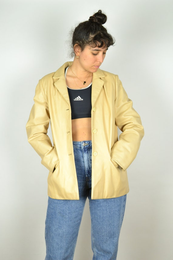 90s Long Beige Women Leather Jacket S M