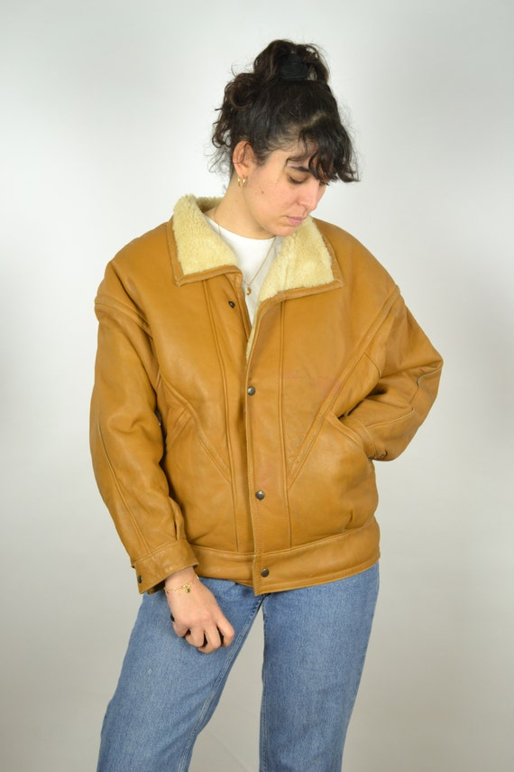 REAL 70s Sheepskin Vintage Bomber Jacket 70s Oran… - image 6