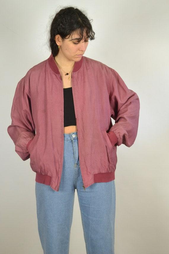 Vintage 80s - Pastel Red Pink Silk Bomber Jacket … - image 2