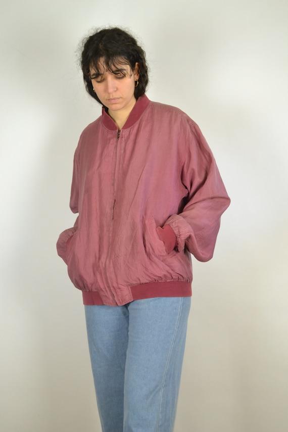 Vintage 80s - Pastel Red Pink Silk Bomber Jacket … - image 8