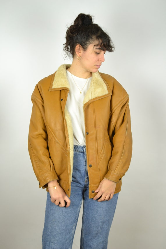 REAL 70s Sheepskin Vintage Bomber Jacket 70s Oran… - image 5