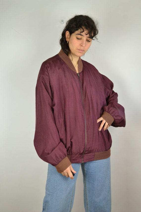 Vintage 80s - Shiny Red Pink Silk Bomber Jacket -… - image 5