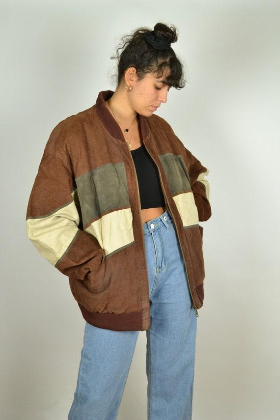 Suede Linen Jacket Vintage 70s Suede Bomber Coat B