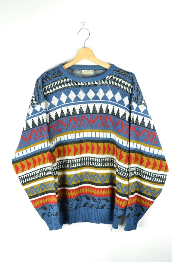 Fun vintage sweater 90s hippy jumper bright colorful patterned sweater Small Medium size