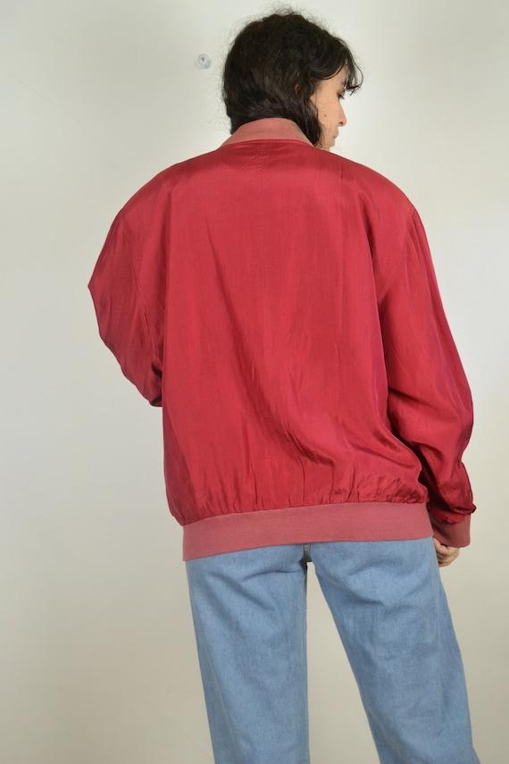Vintage 80s - Red Silk Bomber Jacket - Size L - S… - image 8