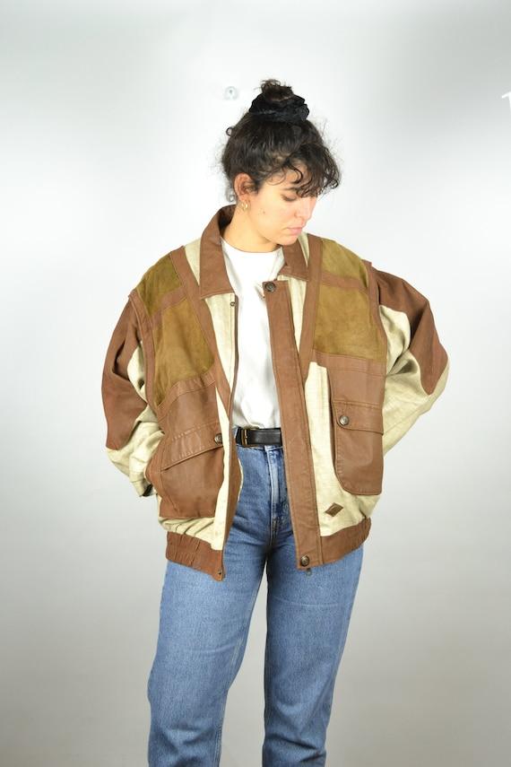 Suede Linen Jacket Vintage 70s 80s Suede Bomber Co