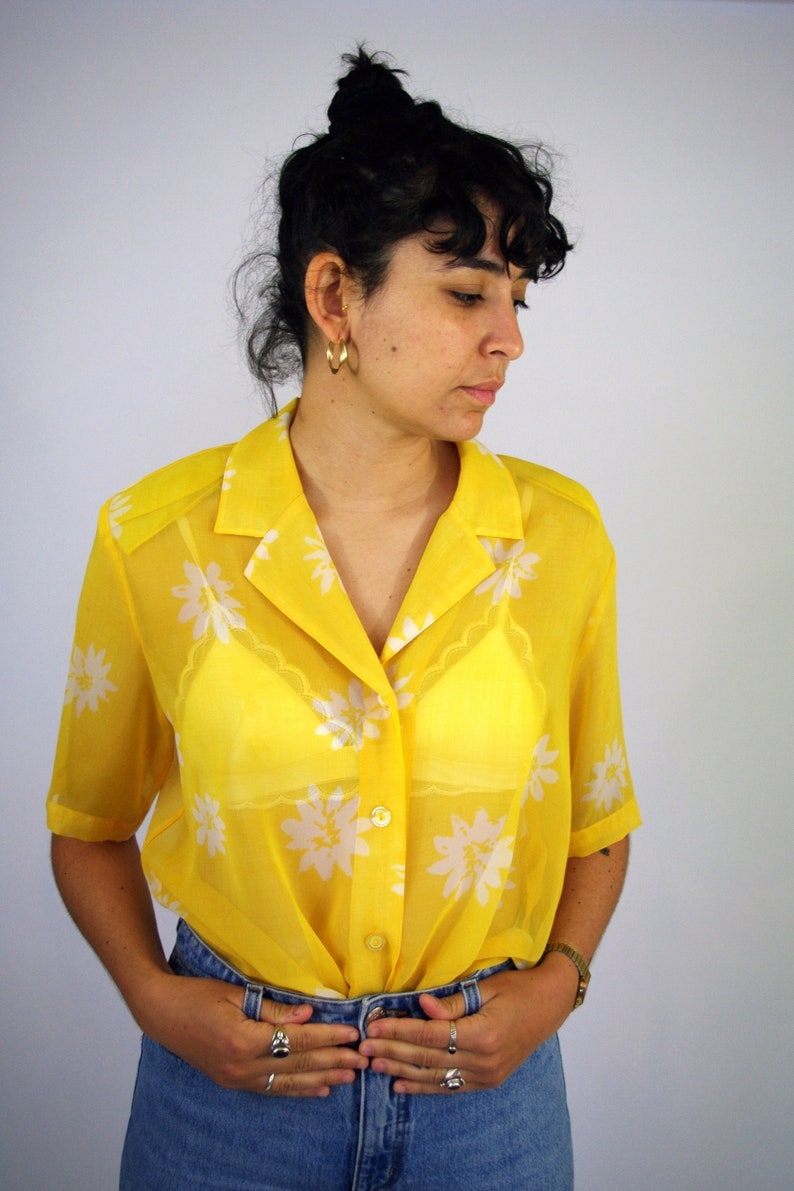 f42f6aa4ac6346 Vintage 90s Transparent Yellow Shirt Blouse See through Light | Etsy
