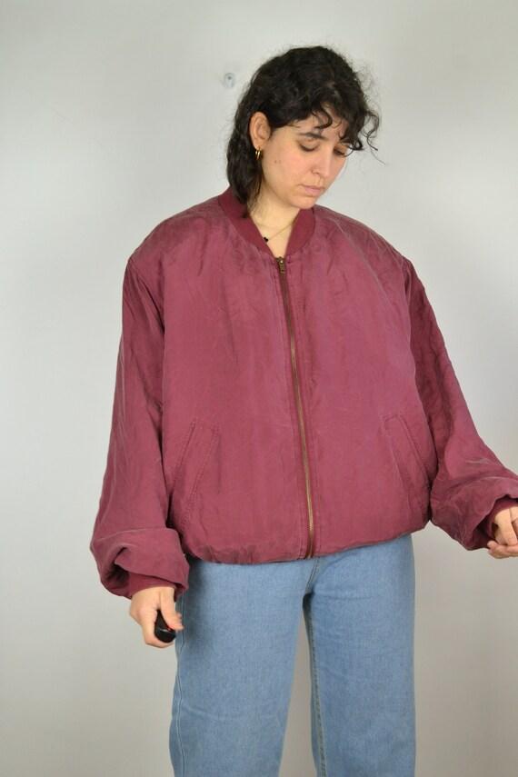 Vintage 80s - Red Silk Bomber Jacket - Size L/XL-… - image 4