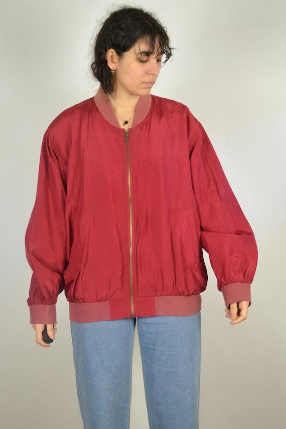Vintage 80s - Red Silk Bomber Jacket - Size L - S… - image 4