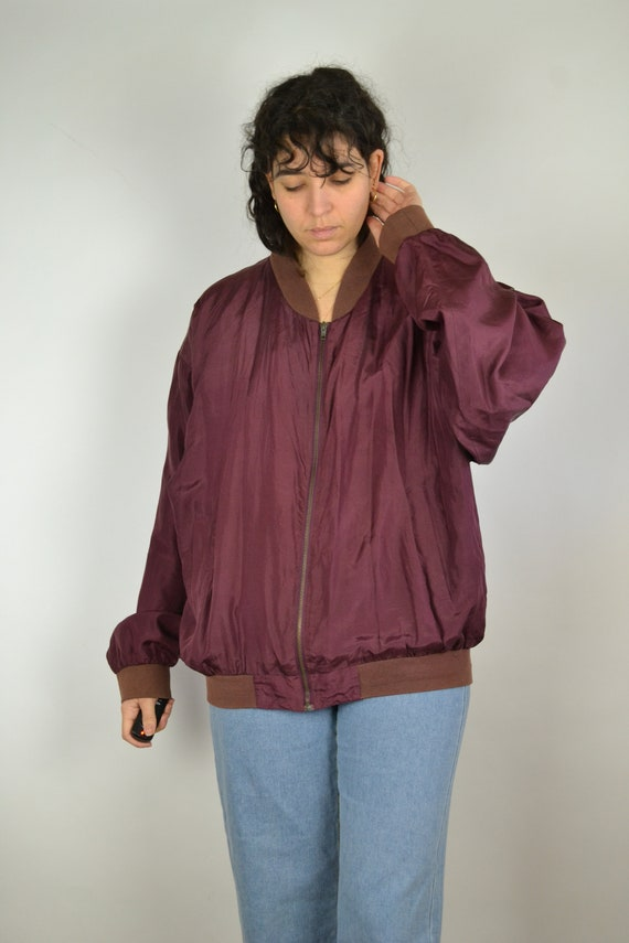 Vintage 80s - Shiny Red Pink Silk Bomber Jacket -… - image 6