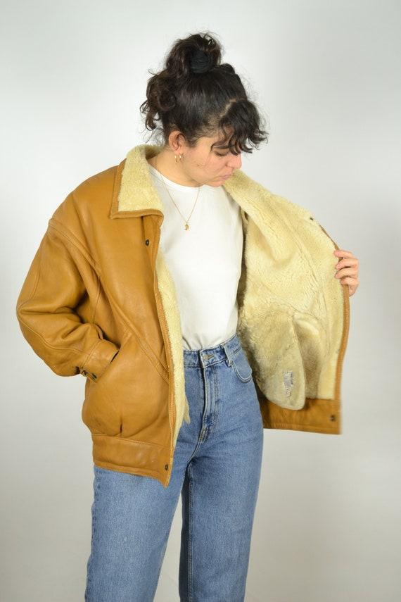 REAL 70s Sheepskin Vintage Bomber Jacket 70s Oran… - image 4