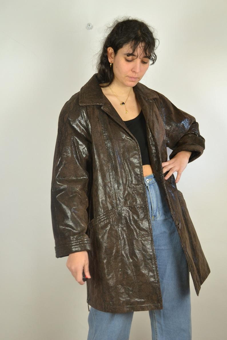 Faux Python Leather Jacket Women Patent Snake skin jacket Vintage 90s Women/'s jacket Medium M L Vintage 90s