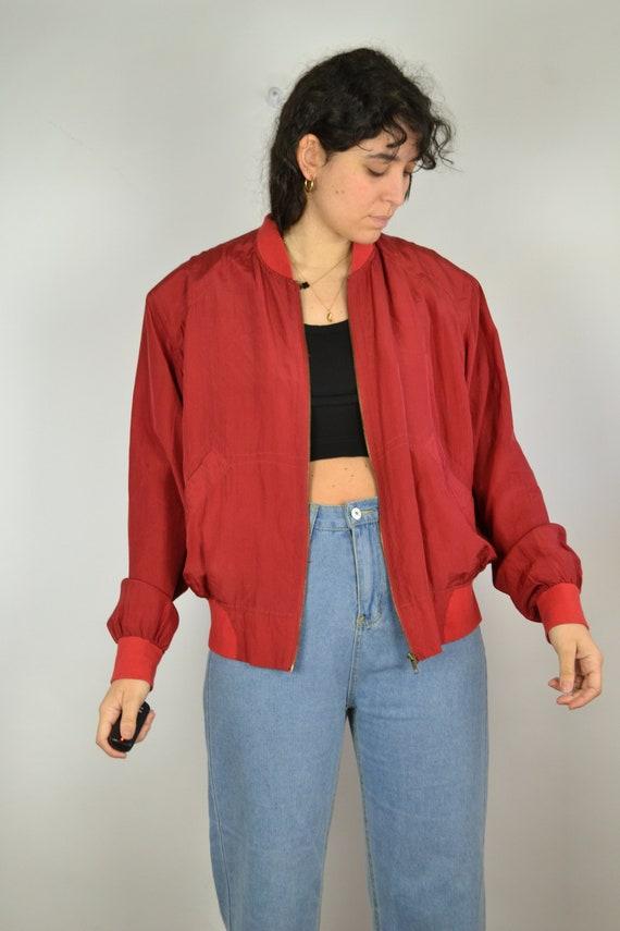 Vintage 80s - Red Silk Bomber Jacket - Size S/M -… - image 3