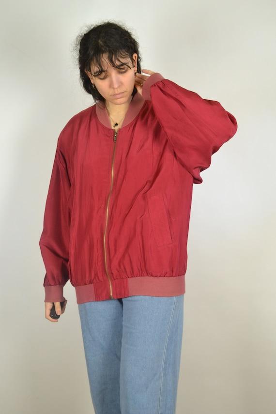 Vintage 80s - Red Silk Bomber Jacket - Size L - S… - image 6