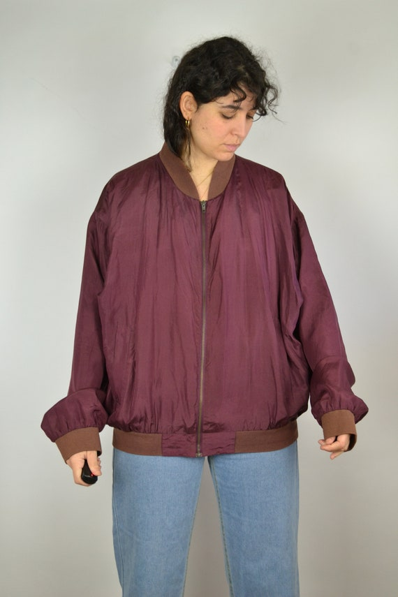 Vintage 80s - Shiny Red Pink Silk Bomber Jacket -… - image 4