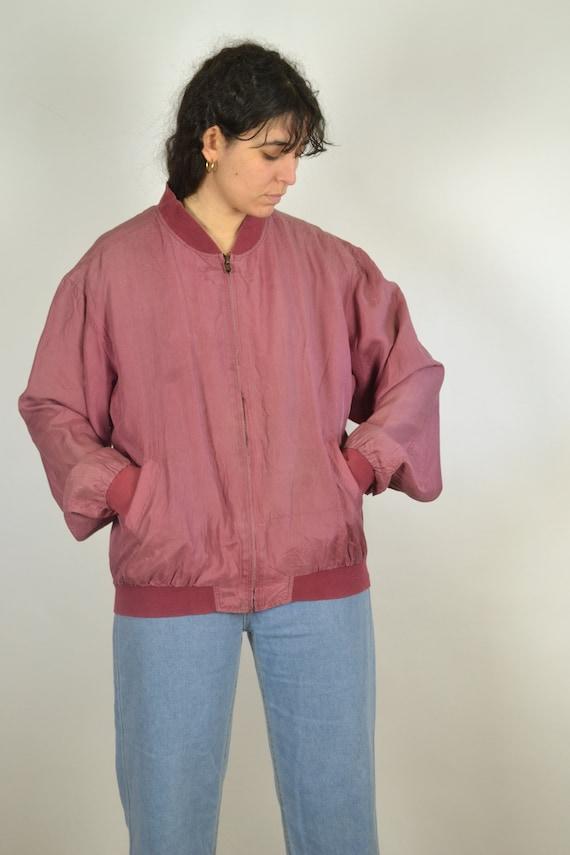 Vintage 80s - Pastel Red Pink Silk Bomber Jacket … - image 7