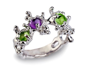 BETWEEN the SEAWEEDS Unique Silver Peridot Ring, Amethyst Ring, Silver Gemstones Ring, August Birthstone Ring, Gift for Her
