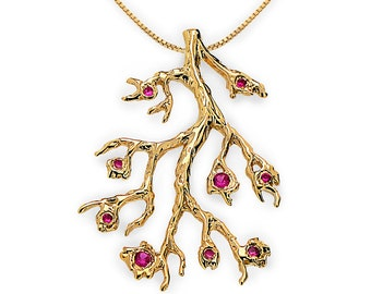 BRANCH Necklace, Red Ruby Pendant Necklace, Gold Ruby Necklace, Twig Necklace, Tree Branch, Woodland, Twig Jewelry, Tree of Life