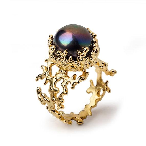 Korallen Schwarze Perle Ring Gold Perle Ring Schwarze Perle Etsy