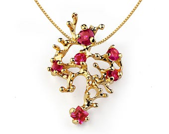CORAL Reef Gold Ruby Necklace, Yellow Gold Necklace, Ruby Pendant, Gift for Mom, Unique Gold Necklace, Gift for her