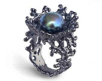 CORAL FLOWER Black Pearl Ring, Black Ring, Black Engagement Ring, Black Pearl Engagement Ring, Alternative Flower Ring