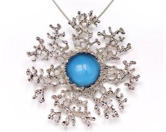 CORAL FLOWER LARGE Silver Blue Topaz Pendant Necklace, Large Pendant, Blue Topaz Necklace, Huge Snowflake Necklace, Statement Necklace