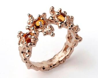 BETWEEN the SEAWEEDS Rose Gold Ring, Yellow Citrine Ring, Rose Gold Gemstone Ring, Gold Citrine Ring, November Birthstone Ring