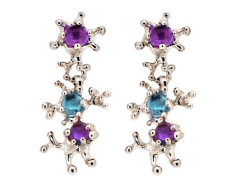 Between The Seaweeds Blue Topaz Earrings, Gemstone Earrings, Silver Amethyst Earrings, Post Dangle Earrings Silver, Unique Earrings