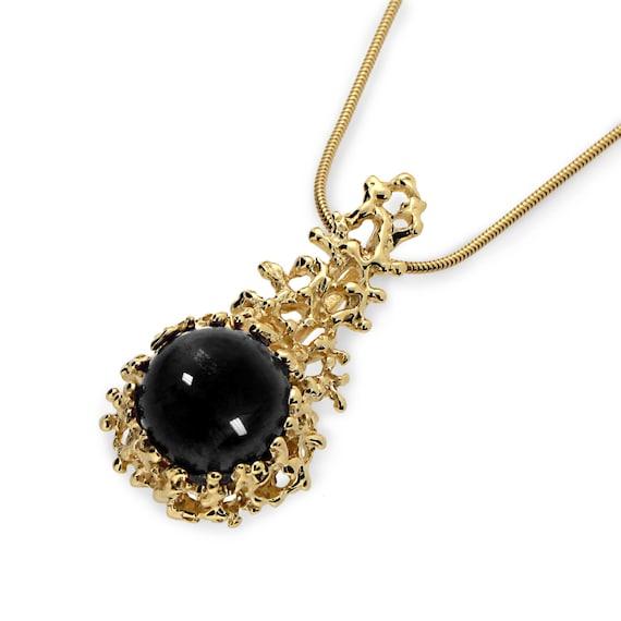 Coral gold onyx pendant necklace black onyx necklace black etsy image 0 aloadofball Image collections