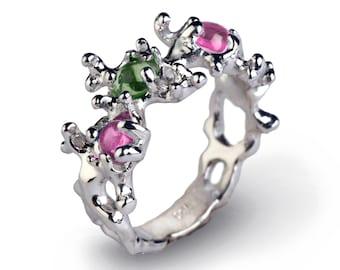 BETWEEN THE SEAWEEDS Unique Silver Tourmaline Ring, Sterling Silver Gemstone Ring, Pink Tourmaline Ring, Green Tourmaline Ring