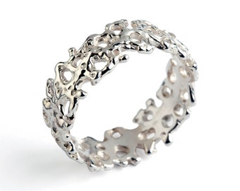 CORAL Wedding Band, Sterling Silver Wedding Band Ring, Men's Wedding Band, Women's Wedding Band, Silver Organic Ring