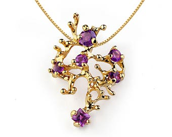 CORAL REEF Gold Amethyst Pendant Necklace, Stone Yellow Gold Pendant, Amethyst Necklace, Unique Gold Pendant Necklace Gold