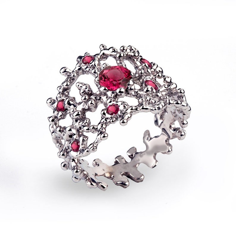 Red Stone Ring Statement Ring Sterling Silver Ruby Band Ring CORAL Ruby Ring for Women Wide Ruby Wedding Band Ring