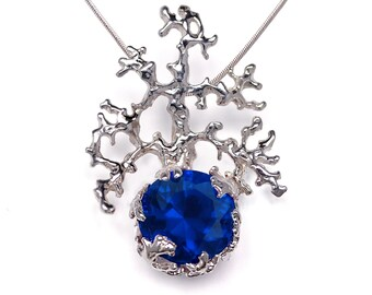 CORAL Silver Sapphire Pendant Necklace, Blue Sapphire Necklace, Unique Gemstone Necklace, Statement Necklace, Mermaid Jewelry, Blue Gemstone