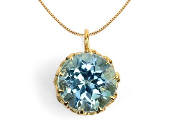 CROWN Gold Sky Blue Topaz Charm Pendant Necklace, Blue Topaz Pendant Necklace, Birthstone Necklace, Dainty Necklace, Birthstone Charm