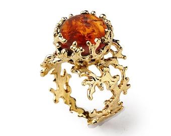 CORAL Baltic Amber Ring, Burnt Orange Gem, Statement Ring, Gold Amber Ring, Gold Gemstone Ring, Natural Amber Ring, Unique Gold Ring