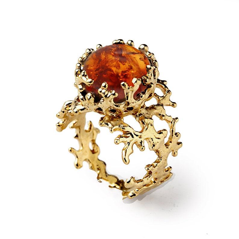 CORAL Baltic Amber Ring Burnt Orange Gem Statement Ring image 0