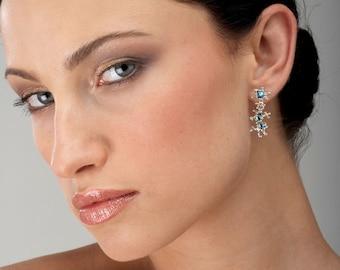 Between The Seaweeds Blue Topaz Earrings, Unique Silver Earrings, Post Dangle Earrings Silver, Gift for Her, Gemstone Earrings