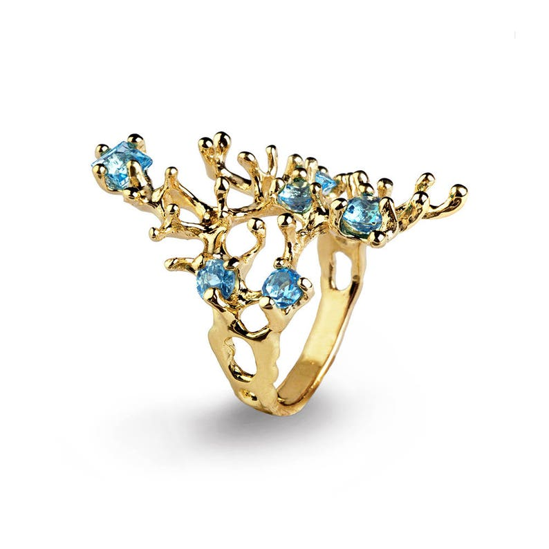 REEF Gold Blue Topaz Ring Gemstone Ring Gold Statement Ring image 0