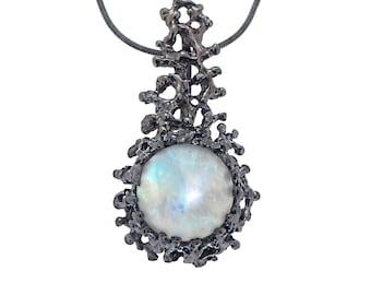 CORAL Rainbow Moonstone Pendant Necklace, Black Silver Moonstone Necklace, Large Moonstone Necklace, Oxidized Silver Necklace, Black Pendant