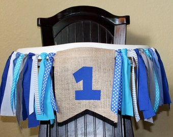Blue Birthday Garland, High Chair Garland, Blue High Chair Banner