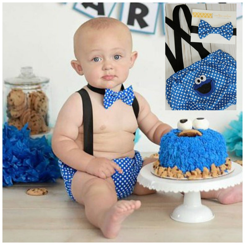 Cookie Monster 1st Birthday Cake Smash Outfit