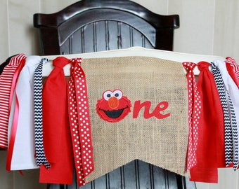 Elmo Birthday Garland, Elmo High Chair Garland, Elmo High Chair Banner